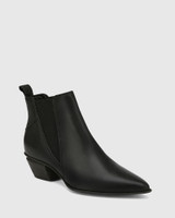 Starr Black Leather Western Chelsea Boot