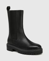 Mackay Black Leather Pull-on Combat Boot