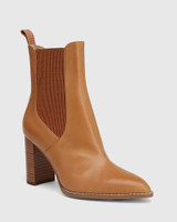 Holler Tan Leather Block Heel Ankle Boot