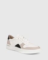 Slater White with Stone and Black Leather Sneaker