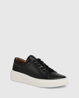 Saga Black Leather Lace Up Sneaker