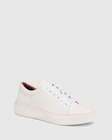 Saga White Leather Lace Up Sneaker