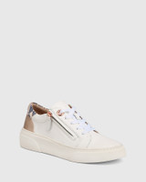 Soul White with Rose Gold and Snake Print Leather Sneaker