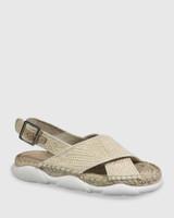 Eli Natural Straw Crossover Flat Sandal.