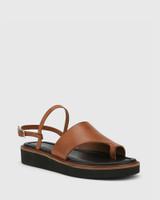 Tahoe Dark Cognac Leather Open Toe Flat Sandal.