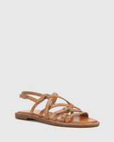 Cordelia Tan Leather Buckle Strap Flat Sandal.