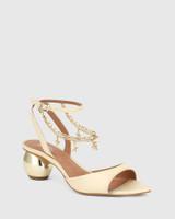 Vanda Cream Leather Round Heel Sandal