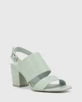 Carr Sage Croc-Embossed Leather Block Heel Sandal