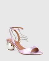 Vanda Purple Metallic Leather Round Heel Sandal