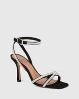 Venetia Black Nubuck Diamante Sandal
