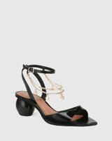 Vanda Black Crinkled Patent Round Heel Sandal