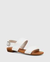Sistine White Leather Flat Sandal.