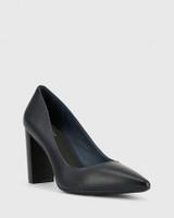 Hether Navy Leather Pointed Toe Block Heel.