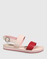 Elissa Red & Pink Leather Flat Sandal.