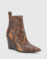 Hadriana Brown Anaconda Print Leather Wedge Heel Ankle Boot.