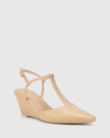 Polette Ecru Leather Pointed Toe Wedge.