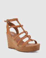 Vittoria Brandy Braided Leather Open Toe Wedge.