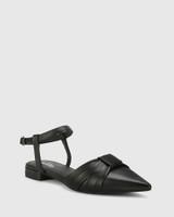 Malvina Black Leather Pointed Toe Flat Sandal.