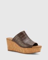 Hadleigh Chocolate Croc-Embossed Leather Wedge Heel
