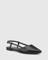 Edelpha Black Leather Flat Slingback Sandal.