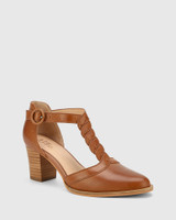 Nedda Dark Cognac Leather T-Bar Block Heel.