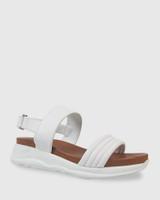 Kenya White Leather Open Toe Flatform Sandal.