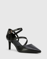 Delby Black Nappa Leather Pointed Toe Stiletto Heel.