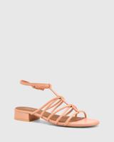 Beckie Pastel Peach Leather Open Toe Block Heel Flat Sandal.