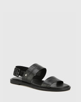 Chastity Black Croc-Embossed Leather Sandal