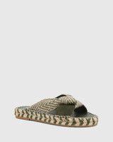Evella Army Multi Suede And Textile Slide.