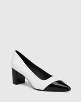 Dashing White Leather With Black Patent Toe And Heel Pump