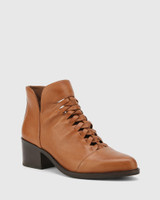 Jonny Dark Cognac Leather Plaited Front Ankle Boot.
