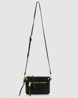 Benjamine Black Leather Magnetic Detachable Cross Body Bag
