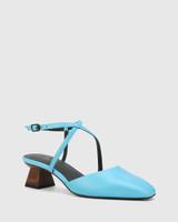 Granada Aqua Blue Leather Square Toe Sculptured Heel.