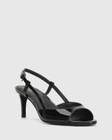 Nahla Black Patent Leather Open Toe Stiletto Heel.