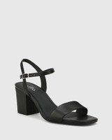 Collin Black Leather Block Heel Ankle Strap Sandal.