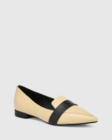 Maisy Sand Leather With Black Detail Loafer