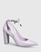 Hennessy Lilac Leather Ankle Wrap Block Heel.