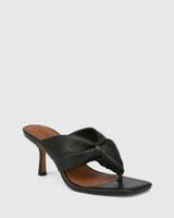 Contigo Black Leather Stiletto Heel Sandal