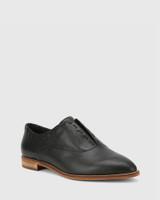 Edyth Black Leather Slip On Brogue.