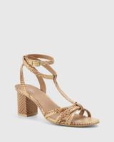 Nia Beige Python Print Leather Open Toe Block Heel Sandal.