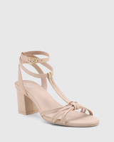 Nia Powder Pink Leather Open Toe Block Heel Sandal.
