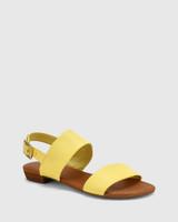Sistine Sunshine Yellow Leather Flat Sandal.