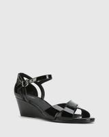 Audrina Black Patent Leather Open Toe Wedge Heel.