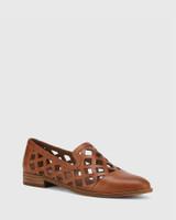 Heeva Dark Cognac Nappa Leather Almond Toe Flat.