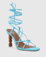 Rikita Aqua Blue Leather Sculptured Heel Strappy Sandal.