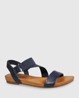 Lyla Navy Leather & Elastic Flat Sandal.