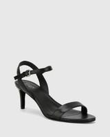 Nyra Black Nappa Leather Kitten Heel Sandal.