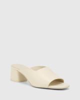 Dayana Buttercream Leather Open Toe Block Heel Mule.