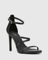 Veronika Black Leather Open Toe Stiletto Heel.